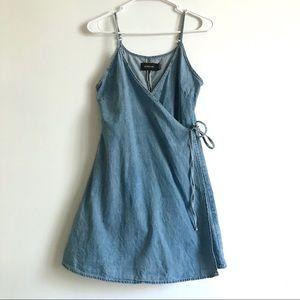9fbc31028d MINKPINK Dresses - MINKPINK RODEO LEAGUE MINI DENIM WRAP DRESS